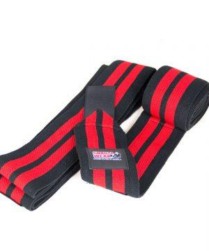 Gorilla-Wear-79-Inch-Knee-Wraps-Zwart-Rood-(200cm)-1