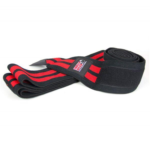 Gorilla-Wear-79-Inch-Knee-Wraps-Zwart-Rood-(200cm)