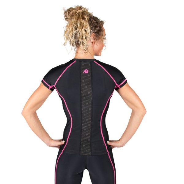 Compressie T-shirt Zwart Roze Carlin - Gorilla Wear-2