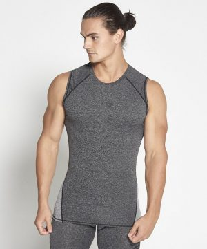 Fitness Compressie Tank Top Donkergrijs - Pursue Fitness-3