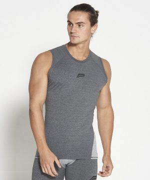 Fitness Compressie Tank Top Grijs - Pursue Fitness-1