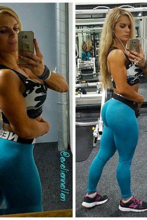 Fitness Legging Dames Blauw Gemeleerd - Nebbia 222-2