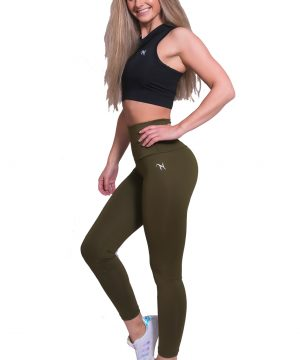 Fitness Legging Dames High Waist Kaki - Mfit-3
