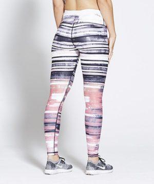 Fitness Legging Dames High Waist Wit Roze - Pursue Fitness Allure-2
