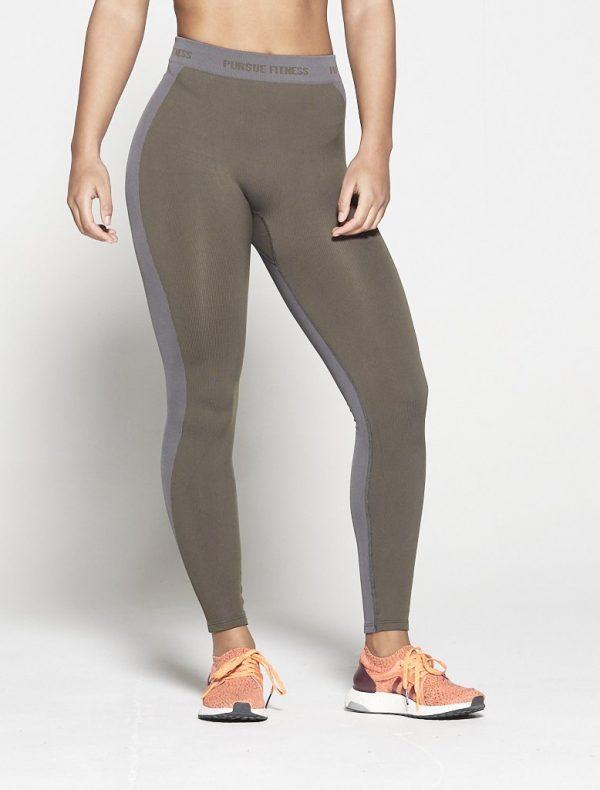 Fitness Legging Dames Kaki Seamless - Pursue Fitness-3