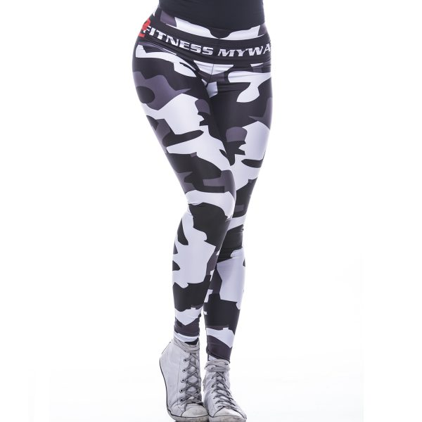 Fitness Legging Dames MyWay2Fitness - Camouflage Blackbird-1