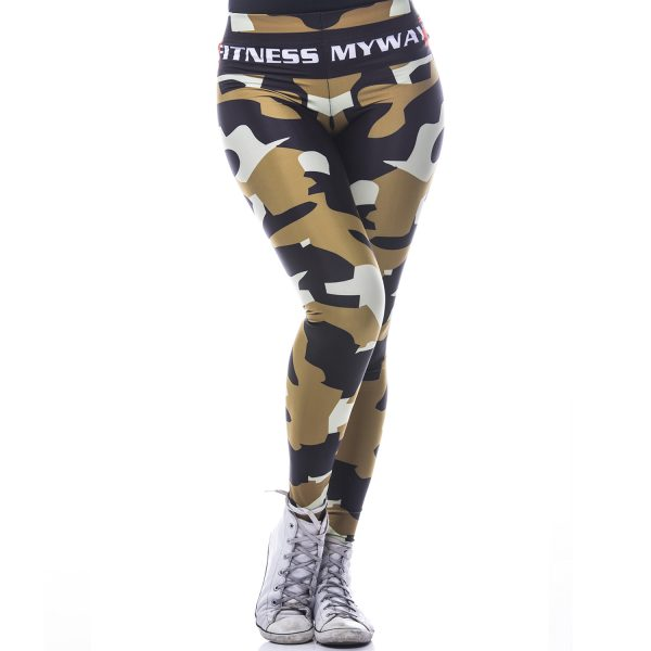 Fitness Legging Dames MyWay2Fitness - Camouflage Golden Olive-1