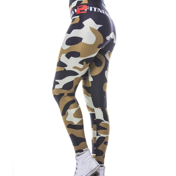 Fitness Legging Dames MyWay2Fitness - Camouflage Golden Olive-3