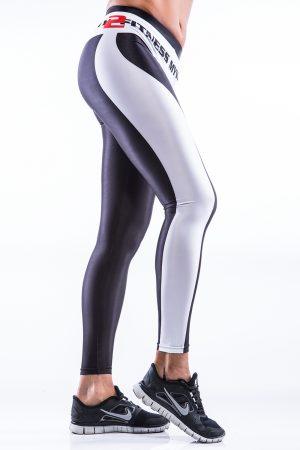 Fitness Legging Dames MyWay2Fitness - Earn Your Body - Zwart-Wit-2