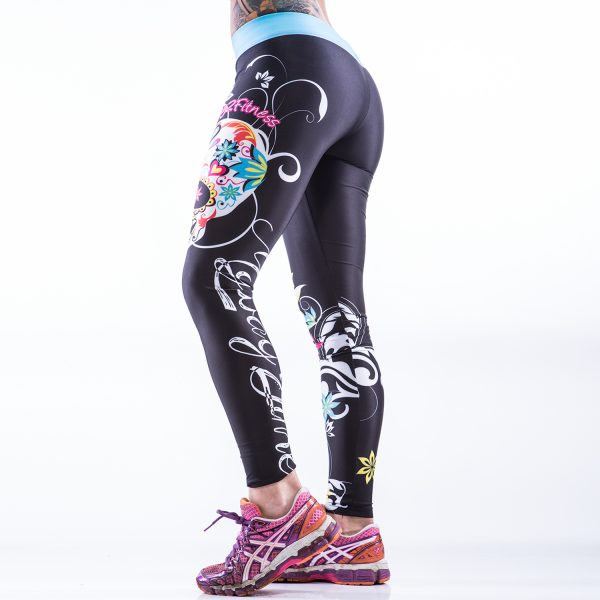 Fitness Legging Dames MyWay2Fitness - Sugarskull Perfection Oceanblue-1