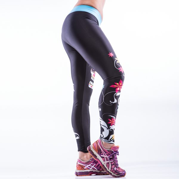 Fitness Legging Dames MyWay2Fitness - Sugarskull Perfection Oceanblue-2