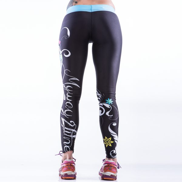 Fitness Legging Dames MyWay2Fitness - Sugarskull Perfection Oceanblue-3