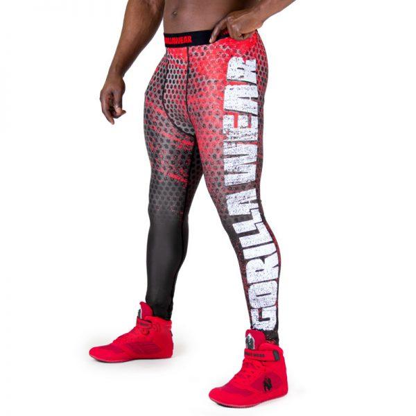 Fitness Legging Heren Zwart Rood - Gorilla Wear Bruce-1