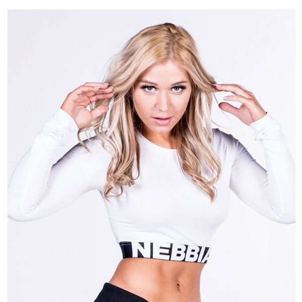Fitness Longsleeve Dames Crop Top Wit - Nebbia Crop Top 269-1