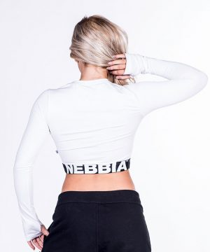 Fitness Longsleeve Dames Crop Top Wit - Nebbia Crop Top 269-2