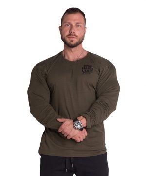 Fitness Longsleeve Heren Kaki - Nebbia 341-1