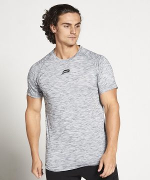Fitness Shirt Heren Grijs Zwart Slub - Pursue Fitness-1