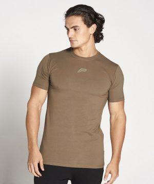 Fitness Shirt Heren Kaki Stretch - Pursue Fitness-1