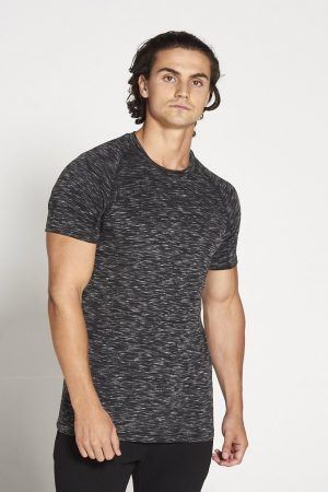 Fitness Shirt Heren Zwart Wit Slub - Pursue Fitness-1
