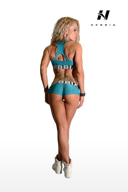 Fitness Shorts Dames Blauw Gemeleerd - Nebbia 225-2