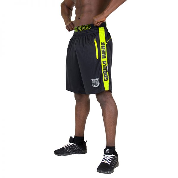 Fitness Shorts Heren Zwart Groen - Gorilla Wear Shelby-1