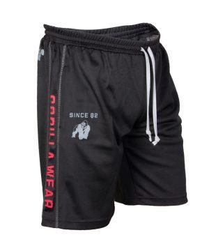Fitness Shorts Heren Zwart Rood - Gorilla Wear Functional Mesh-1
