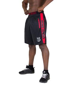 Fitness Shorts Heren Zwart Rood - Gorilla Wear Shelby-1