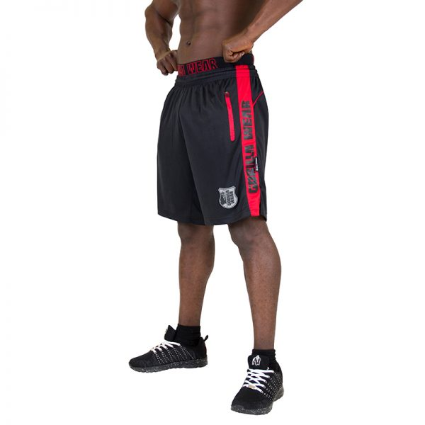 Fitness Shorts Heren Zwart Rood - Gorilla Wear Shelby-1