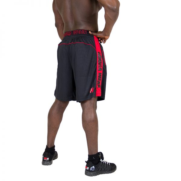Fitness Shorts Heren Zwart Rood - Gorilla Wear Shelby-2