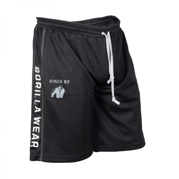 Fitness Shorts Heren Zwart Wit - Gorilla Wear Functional Mesh-1