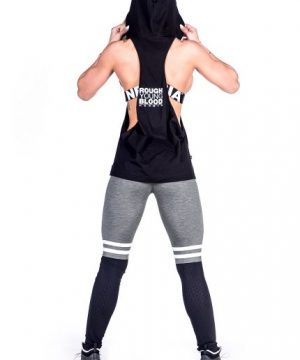 Fitness Singlet Dames Hooded Zwart - Nebbia 473-2