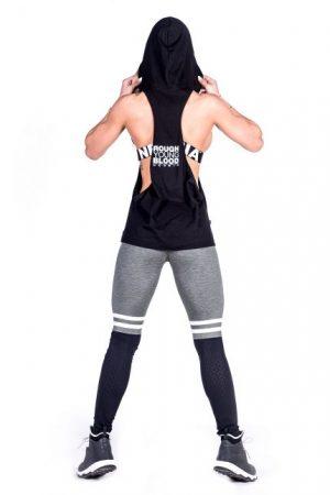 Fitness Singlet Dames Hooded Zwart - Nebbia 473-2