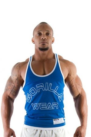 Fitness Stringer Heren Blauw - Gorilla Wear-1