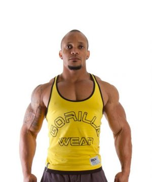 Fitness Stringer Heren Geel - Gorilla Wear-1