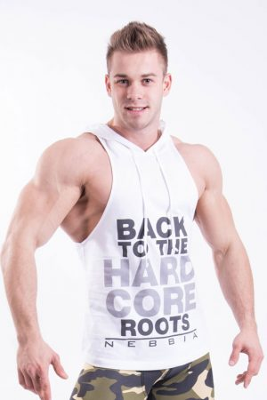 Fitness Stringer Heren Hooded Wit - Nebbia 374-1
