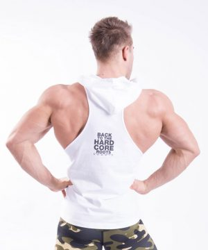 Fitness Stringer Heren Hooded Wit - Nebbia 374-2