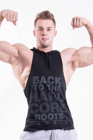 Fitness Stringer Heren Hooded Zwart - Nebbia 374-1