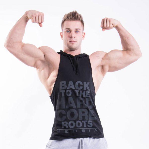 Fitness Stringer Heren Hooded Zwart - Nebbia 374-1