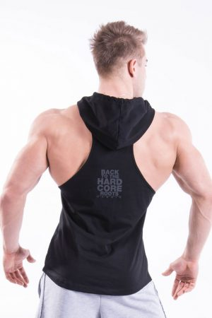 Fitness Stringer Heren Hooded Zwart - Nebbia 374-2