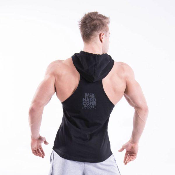 Fitness Stringer Heren Hooded Zwart - Nebbia 374-2