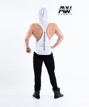 Fitness Stringer Heren Wit met Hoodie - Nebbia 124-2