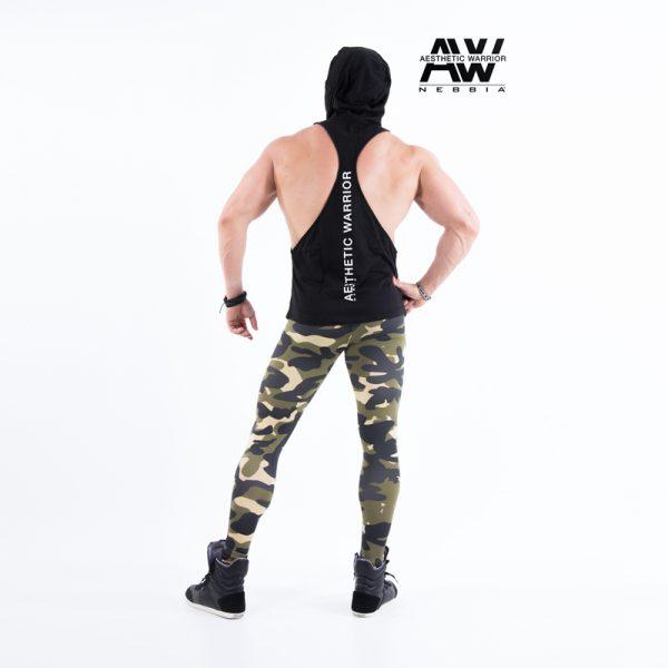 Fitness Stringer Heren Zwart met Hoodie - Nebbia 124-2
