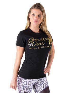 Fitness T-shirt Dames Zwart Goud - Gorilla Wear Luka-1