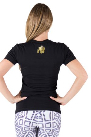 Fitness T-shirt Dames Zwart Goud - Gorilla Wear Luka-2