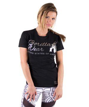 Fitness T-shirt Dames Zwart Zilver - Gorilla Wear Luka-1