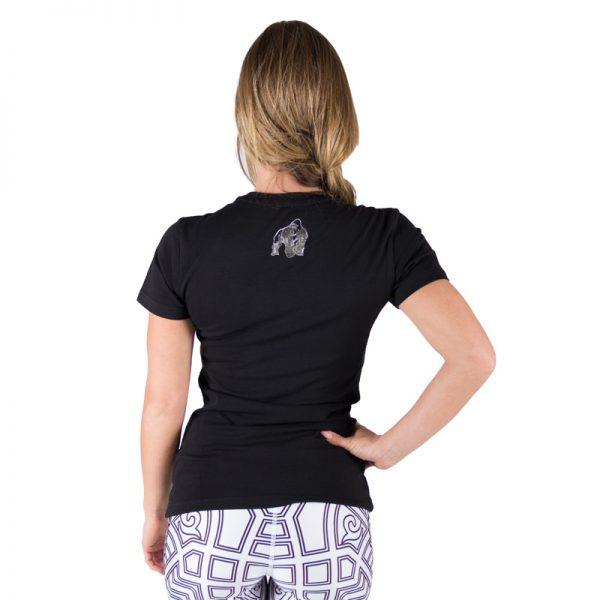 Fitness T-shirt Dames Zwart Zilver - Gorilla Wear Luka-2