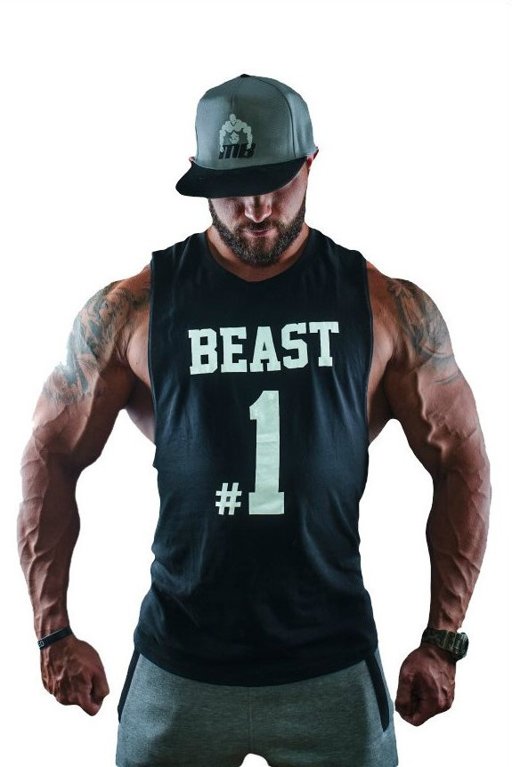 Fitness Tank Top Heren Beast #1 Zwart - Muscle Brand-1