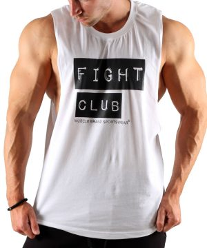 Fitness Tank Top Heren Fight Club Wit - Muscle Brand-1
