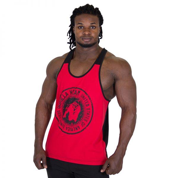 Fitness Tank Top Heren Rood Zwart - Gorilla Wear Roswell-1