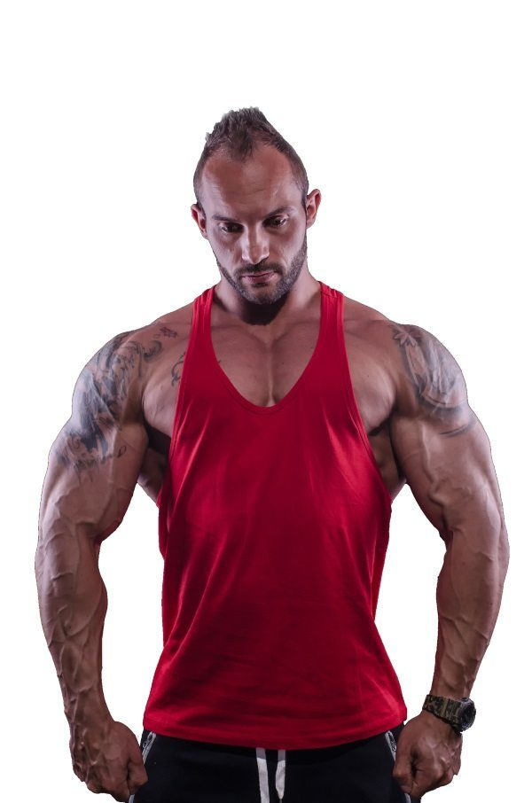 Fitness Tank Top Heren Typed Rood - Muscle Brand-1